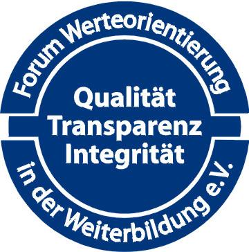 Sigel des Forum Werteorientierung in der Weiterbildung verliehen an Klaus  Priemer