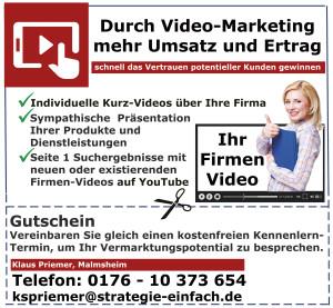 Durch Video Marketing mehr Umsatz und Ertrag Anzeige Klaus Priemer Renningen